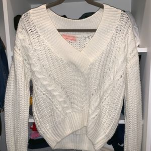 White Urban Outfitters Cable Knit V-Neck Sweater